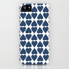 Diamond Hearts Repeat Navy iPhone Case