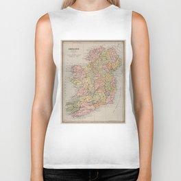 Vintage Map of Ireland (1883) Biker Tank