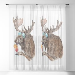 Moose on Vacation Sheer Curtain