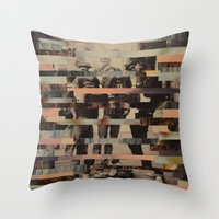 beastie boys Throw Pillows featuring The Boys by Claire Elizabeth Stringer