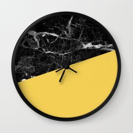 Black marble and primrose yellow color Wall Clock