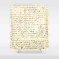 writing Shower Curtains featuring Vintage Writing by Paper Rescue Designs