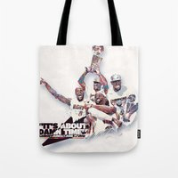lebron Tote Bags featuring Lebron//NBA Champion 2012 by Largetosti