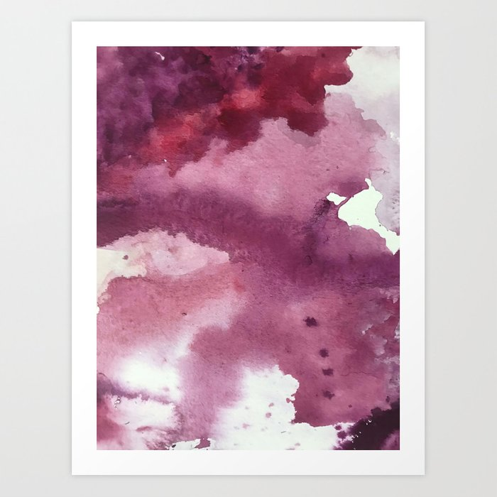Blushing [2]: a minimal abstract watercolor and ink piece in shades of purple and red Kunstdrucke