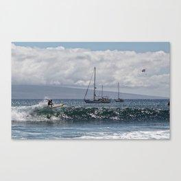 Surfin' n Maui riding the waves Canvas Print