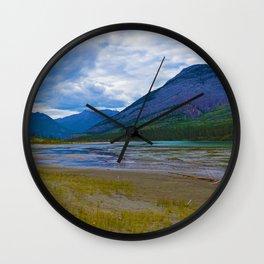 Morrow Peak & the Athabasca River in Jasper National Park, Canada Wall Clock