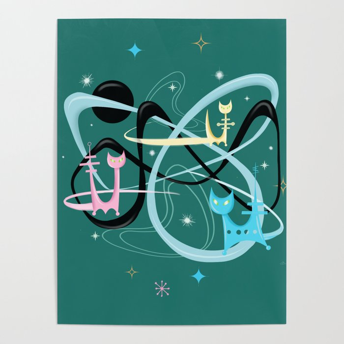 Atomic Rocket Cats In Space Poster