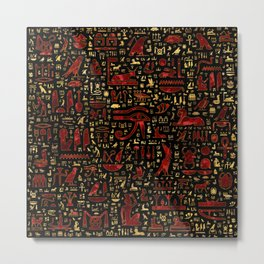 Ancient Egyptian hieroglyphic pattern Red Marble and Gold Metal Print