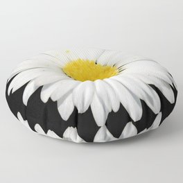 Nine Common Daisies Isolated on A Black Backgound Floor Pillow