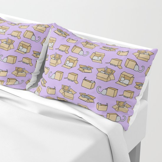 Cats in Cardboard Boxes, on Lavender by gmicheldesign