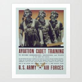 Vintage poster - Aviation Cadet Training Art Print