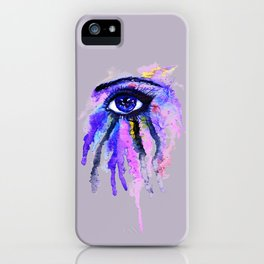 Blue eye splashing iPhone Case