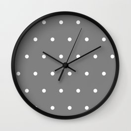 Grey With White Polka Dots Pattern Wall Clock
