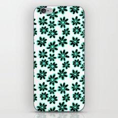 Black & Teal Funky Flowers Pattern iPhone & iPod Skin