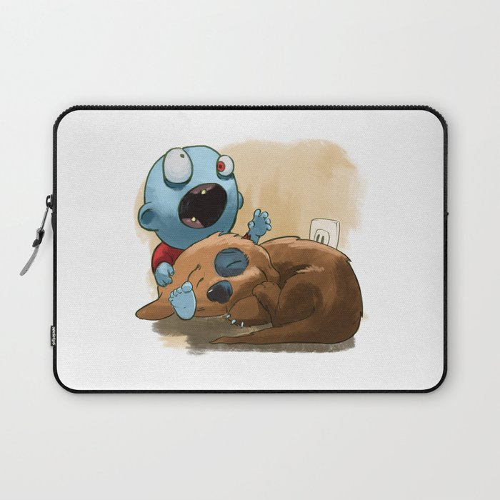 Zombies like to bite stuff too. Laptop Sleeve