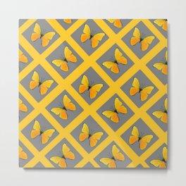 GOLDEN BUTTERFLIES GREY LATTICE  DESIGN Metal Print
