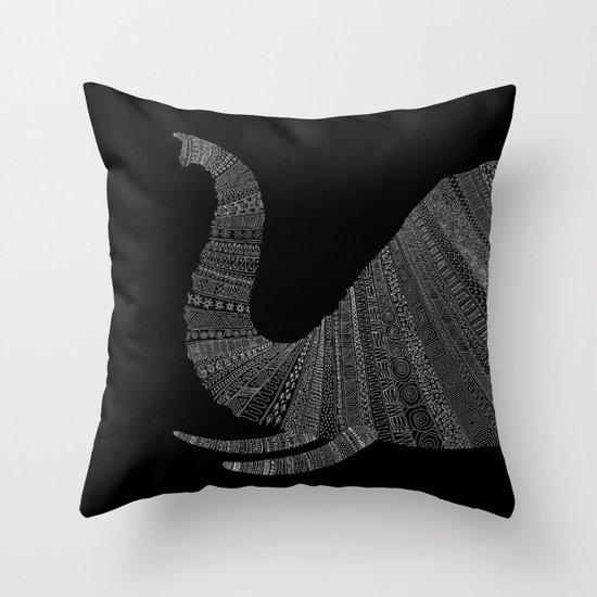 Elephant (On Black) Throw Pillow