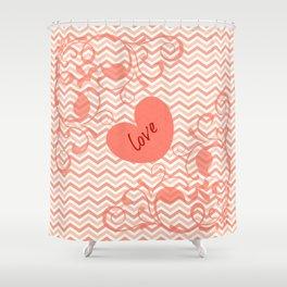 Chevron Love Peach Shower Curtain