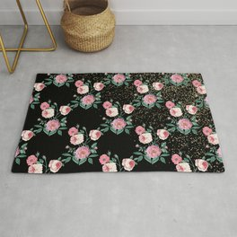 Romantic peony floral and golden confetti design Rug