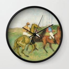 Jockeys and Race Horses (ca. 1890–1895) painting in high resolution by Edgar Degas Wall Clock