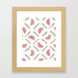 Grapefruit and Rosemary Pattern Framed Art Print