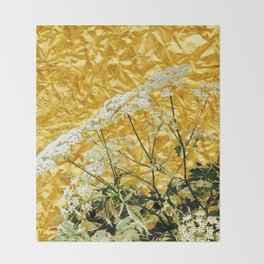 GOLDEN LACE FLOWERS FROM SOCIETY6 BY SHARLESART. Throw Blanket