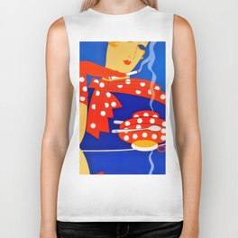 "Art Deco Illustration ""Coffee and Cigarettes"" Biker Tank"