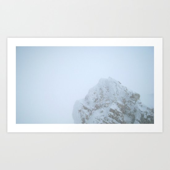 zugspitze mountain in the fog, germany. Art Print