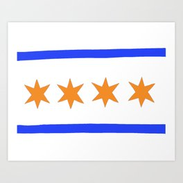 chicago flag bears colors Art Print