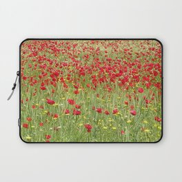 Meadow With Beautiful Bright Red Poppy Flowers  Laptop Sleeve