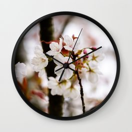 White Cherry Blossoms Wall Clock