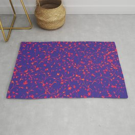 delicate small red floral pattern print against blue background design Rug