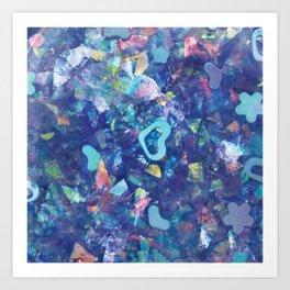 Kawaii Blue Heart Sparkly Abstract Art Art Print
