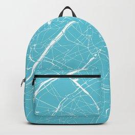Paris France Minimal Street Map - Turquoise Blue Backpack