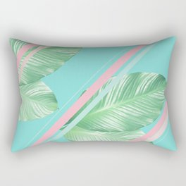 Tropical Summer Leaves Stripes - Cali Vibes #1 #tropical #decor #art #society6 Rectangular Pillow