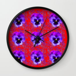 DECORATIVE PURPLE PANSY FLOWERS ON RED COLOR Wall Clock