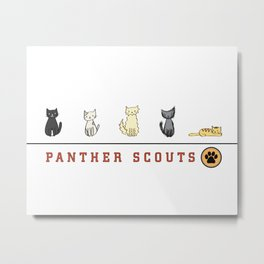 Five Cats All in a Row - Panther Scouts Characters Metal Print