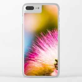 Exotic summer pink silk tree mimosa flower Clear iPhone Case