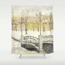Locks on Little Lovers Bridge Shower Curtain