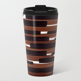 Dark Brown Primitive Stripes Mid Century Modern Minimalist Watercolor Gouache Painting Colorful Stri Travel Mug