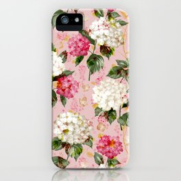 Vintage green pink white bohemian hortensia flowers iPhone Case
