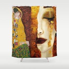 Gustav Klimt: The Kiss & Freya's Tears golden-red flower anemone college portrait painting Shower Curtain