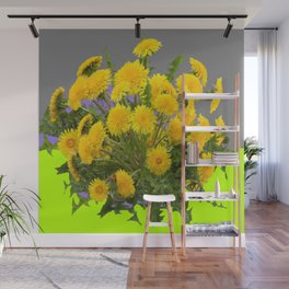 Yellow Dandelions Grey- Chartreuse Colored Art Wall Mural