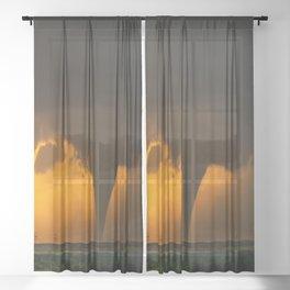 Silhouette - Large Tornado at Sunset in Kansas Sheer Curtain
