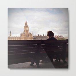London Big Ben with a Guy Metal Print