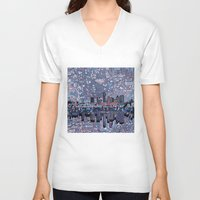 texas V-neck T-shirts featuring austin texas city skyline by Bekim ART