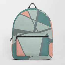 Triangels geometric pattern turquoise pink Backpack