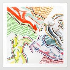 nude figures Art Print