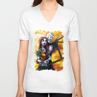 jack skellington V-neck T-shirts featuring Jack Skellington With Sally Figurine by Andrian Kembara