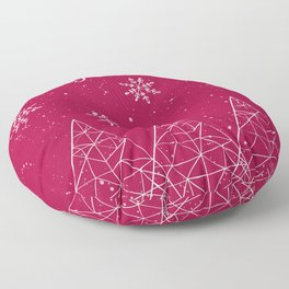 Merry Christmas Red And White Floor Pillow